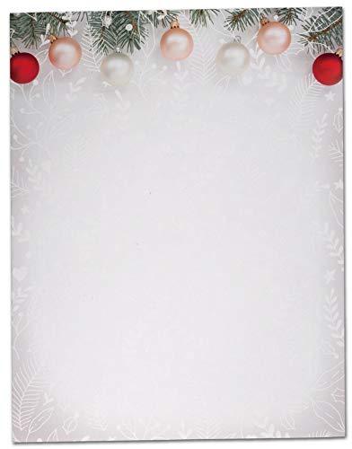 Black Tabby Studio Christmas Tree Ornaments Winter Holiday Stationery - 40 Sheet Set of Letterhead Paper