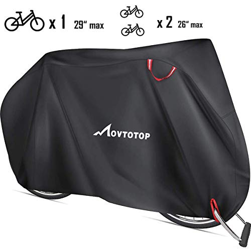 MOVTOTOP Bike Cover, Thicken Bicycle Cover Waterproof for Outdoor Storage, 29'' Heavy Duty 210D Oxford Bike Outdoor Cover, Protect Bike from Rain UV Snow Dust, Black