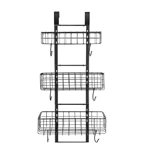 Organizador desmontable de 3 cestas sobre la puerta, resistente hierro para colgar en la puerta, estante organizador para cocina, cuarto de baño (negro)