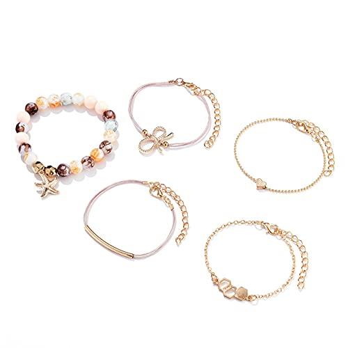 Denluns Juego de 5 pulseras ajustables de capas doradas con apertura para mujeres, con cadena de mano ajustable,