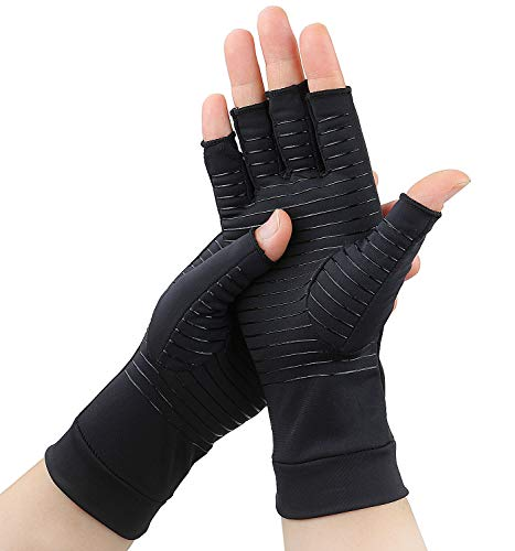 Semikk 2 Pairs Compression Gloves for Women and Men  Copper Arthritis Gloves for Rheumatoid Arthritis Osteoarthritis Carpal Tunnel Raynauds Disease  Hand Pain Relief and Support  Open Finger