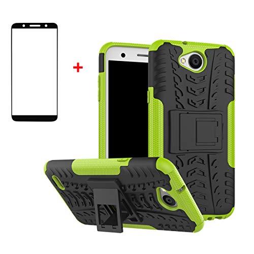 FullProtecter LG X Power2 Hülle,Bumper Cover Schutz Tasche Handyhülle Schutzhülle Silikon TPU+PC Hardcase für LG X Power2(Grün)+2 Stück Panzerglas Schutzfolie