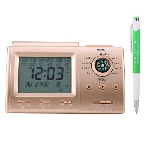 Hztyyier Islamischer Azan Wecker Muslimische Gebetswecker Digital LCD Automatische Islamische Tischuhr Azan Clock Time Reminder mit Stift