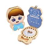 SXFYMWY Caja de Dientes de bebé Guardar Caja de Dientes de Madera Primer Diente y Recuerdo Organizador,A
