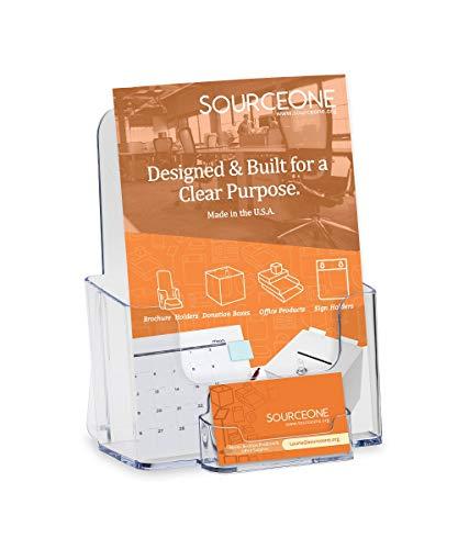 Source One Bi Fold Brochure Holder Standard Booklet with Business Card Holder (BI-BC)