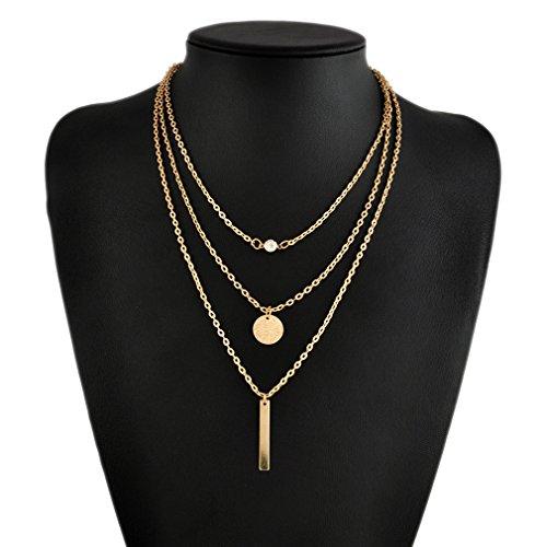 L_shop Metall Ring Stick Bar Anhänger Halskette Charming Pailletten Dünne Kette für Frauen, Gold, Als Beschreibung