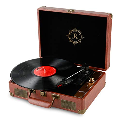 JDR Vinyl Record Player Bluetooth 3-Speed Turntable Vintage Portable Suitcase Phonograph with Built-in Speakers,USB/AUX in/Convert Vinyl to Digital for Entertainment Brown
