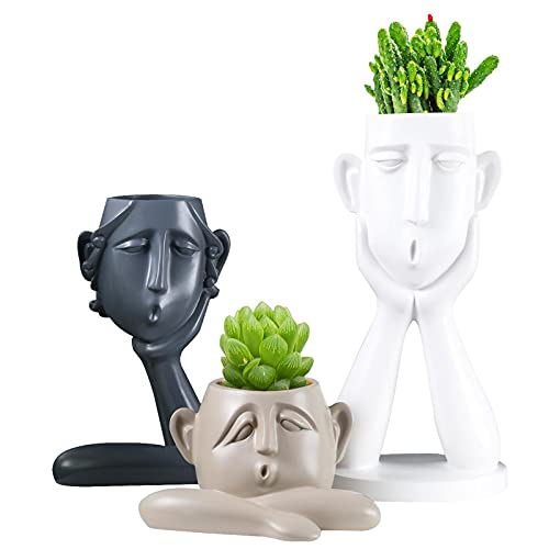 Succulent Pots Statue Decor Crafted Figurines for Home Decor Accents,...