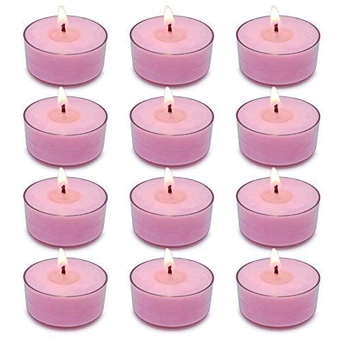 Kenking Tealight Candles, 100% Soy Wax Candles 12 Pack Tea Lights 4-5 Hour Burn Time Clear Cup Candlelight for Christmas & Holiday Collection (12 Pack, Peony and Cherry Blossom)