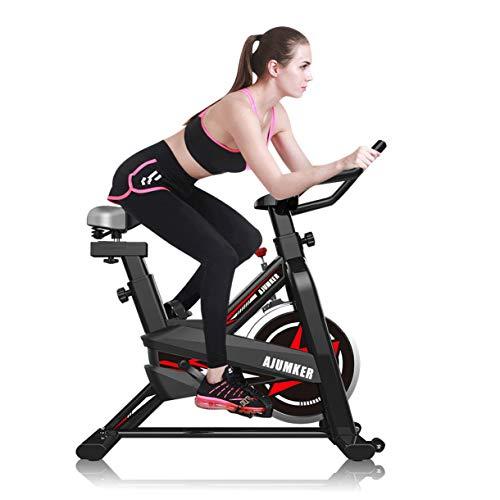 AJUMKER Cyclette Indoor Bike Spin, Cyclette Diadora Fitness Indoor Professionale, Attrezzatura Sportiva Fissa con, Silenzioso, Manubrio e Sedile Regolabili, Fitness Bike 180 kg