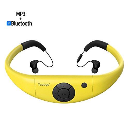 Tayogo MP3 Kopfhörer 8GB IPX8 Wasserdicht Ultraleicht FM Bluetooth 4.2 Hi-FI Unterwasser 3m Schrittzähler App U Disk f¨¹r Schwimmen Laufen Reiten Walking Spa und Andere Wassersportarten (Gelb)-MEHRWEG