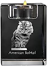 American Bobtail, Crystal Candlestick, Candle Holder with cat, Souvenir, Limited Edition