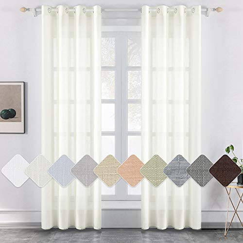MIULEE 2 Panels Voile Curtains Sheer Cross Linen-like Solid Color Contemporary Decorative Ring Top Eyelet Panels for Bedroom Livingroom Nursery Room Ivory 55' Wx57 L