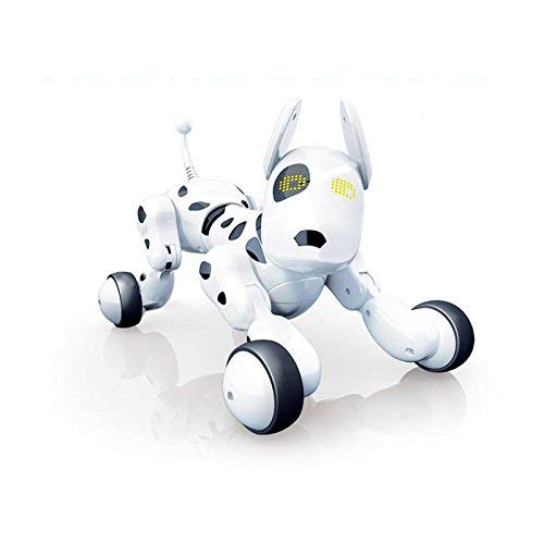 RCTecnic Perro Robot para Niños Buddy Interactivo Mascota, Sabe Cantar, Bailar y tiene Movimiento Teledirigido, Ojos con LED, Con Batería y Cable Cargador USB