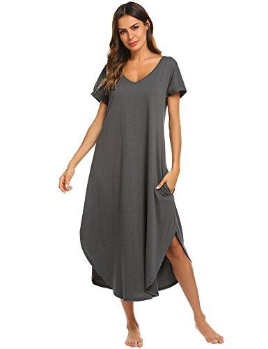 Ekouaer Nightgown Women Sexy V Neck Nightshirt Short Sleeve Long Sleepwear Gown (Dark Grey,M)
