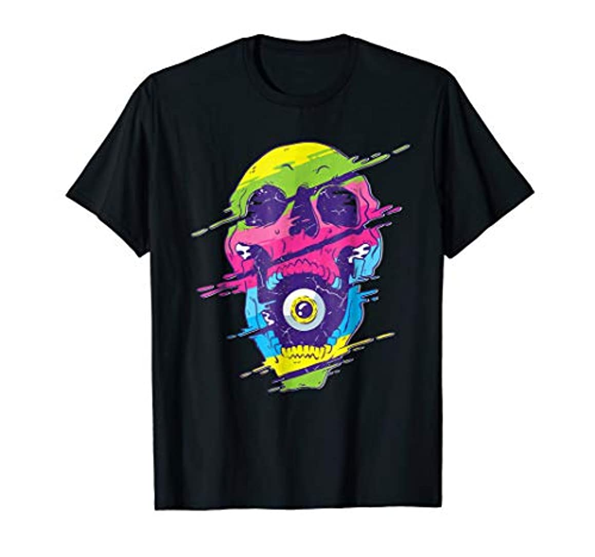 Colorful Melting Skull Art Graphic Party EDM Rave TShirt