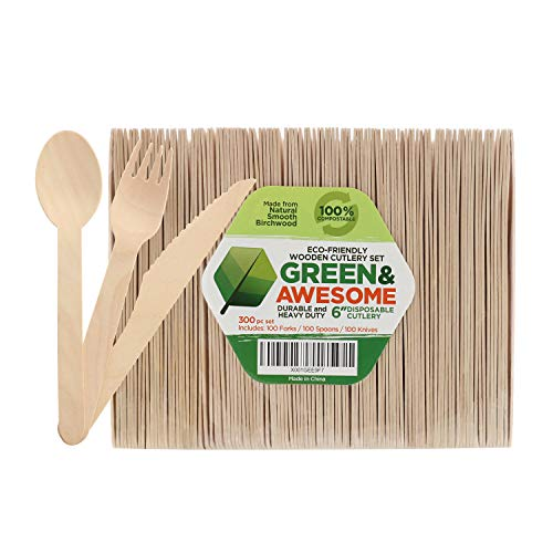 Disposable Wooden Cutlery Set - 300 pc,100 Forks, 100 Spoons, 100 Knives, 6 Length Eco-Friendly 100% Compostable Biodegradable, Natural Wooden Utensils, Party Use, Camping by GREEN & AWESOME