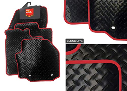 Price comparison product image DB Bespoke (Q308) 4 Piece (2014-2018) Aygo Vehicle Specific Car Mat Set - Black Rubber-Red Trim