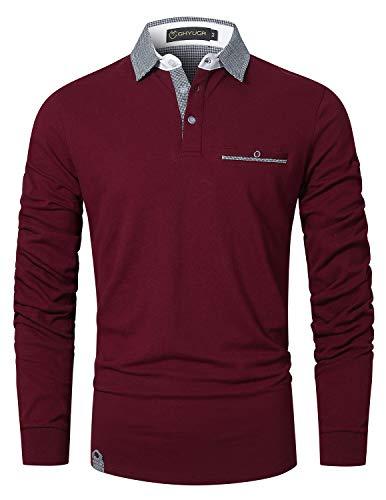 GHYUGR Polo Hombre Manga Larga Camiseta Deporte Clásico Elegante Cuadros Cuello T-Shirt,Rojo Vino,L