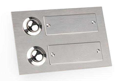 HUBER Klingeltaster Edelstahl 12502, 2-fach unter Putz, rechteckig, mit Namensschild