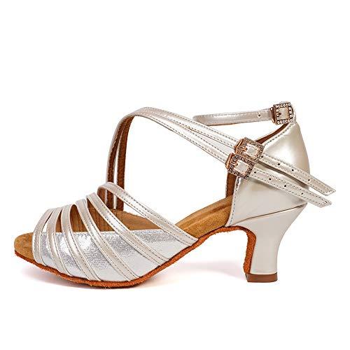 HROYL Zapatos de Baile Latino Mujer Salsa Bachata Cerrados Zapatos Baile de Salon,WH7012-6-Beige, EU 37