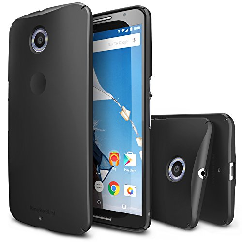 Nexus 6 Case, Ringke [Slim] Ultra Thin Cover w/ Screen Protector [Snug-Fit] Essential Side to Side Edge Coverage Superior Coating PC Hard Skin for Google Nexus 6 - SF Black