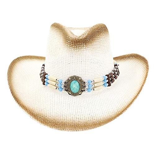 Sannysis Cowboyhut Western Toyo Strohhut mit Hutband Westernhut Sonnenhut Strandhut Herren Hut inklusive Knochenhutband Line Dance Weiß