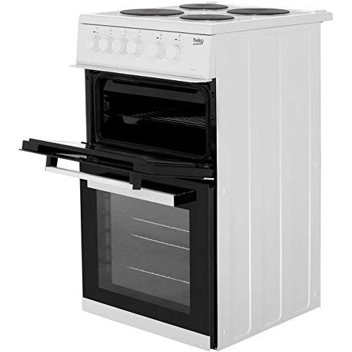 Beko KD533AW 50cm Twin Cavity Electric Cooker in White 4 Hotplate Burners