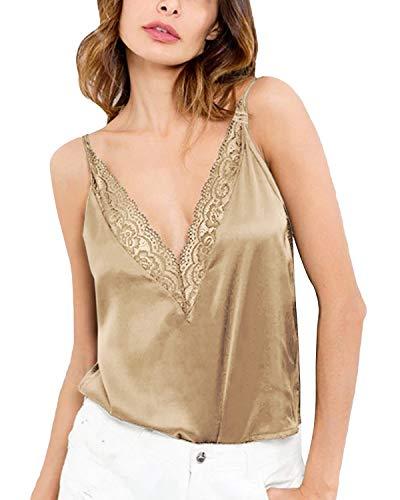 CNFIO Camiseta de Tirantes para Mujer Elegante Top Mujer Fiesta con Encaje...