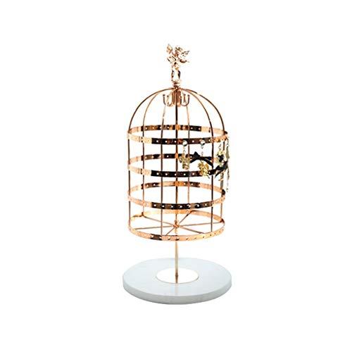LXX Cajas de joyería Soporte de exhibición de joyería Soporte de metal para pendientes, collar creativo jaula de pájaros organizador organizador titular (dorado) cofres de joyería (color blanco)