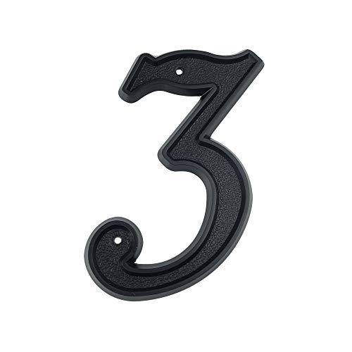 HASWARE Número de casa de 5.5 pulgadas (139mm) Números de puerta modernos Números de dirección de casa de calle, Plástico ABS negro (3)