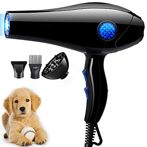 YLXD Secadora De Pelo para Mascotas Caninas Calentadora,Suministros para Mascotas,Velocidad Ajustable, Secador silencioso y rápido, Secador de Pelo para Perros,Luz Azul,Esterilización