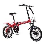 BGLMX Bicicleta De Montaña Plegable, Portátil Bicicletas Outroad con Marco De Aluminio De 6 Velocidades, Freno De Disco Mecánico Todo Terreno Montaña Bicicleta, Llantas De 3 Radios,Rojo,16 Inch