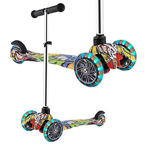 WeSkate, monopattino per bambini, 3 ruote, regolabile, con ruote a LED lampeggianti, per bambini dai 2 anni in su., Nero