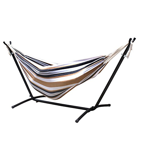 ZENY Double Hammock 9' with Space Saving Steel Stand Includes Portable Carrying Case (Desert Stripe)