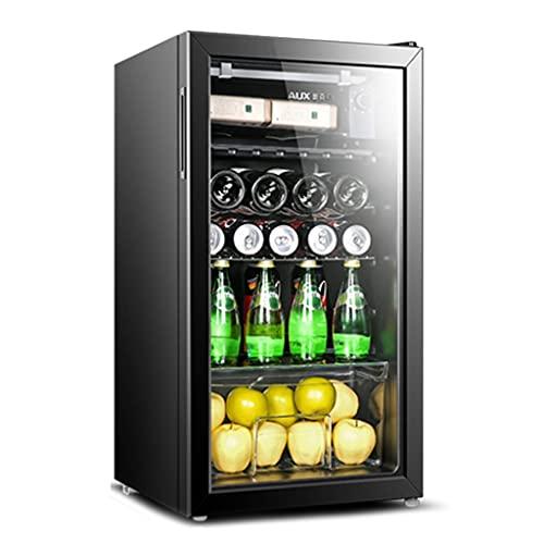 Frigorífico de Vino de Dos Zonas, Bodega de Vino Independiente, Puerta de Vidrio Templado Transparente, Barra de Hielo de Bebida refrigerada y congelada (Color : Black, Size : 45 * 45 * 83.1cm)