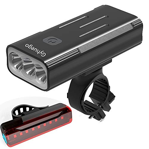 Gyhuego Bike Light USB Rechargeable, 4000 Lumen Bicycle Lights Front and Back, Bright Led Bike Headlight and Taillight with Power Bank Function, Road Cycling Safety Flashlight