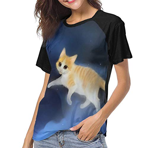 Ygoner Women's Short Sleeve T-Shirt Space Cat Fish Food...