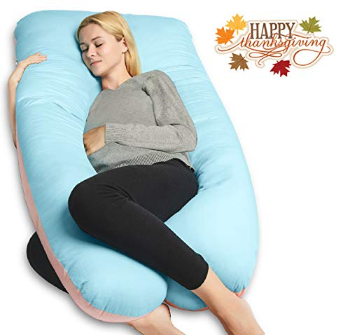 QUEEN ROSE Pregnancy Body Pillow, 55in U-Shaped Maternity Pillow for Pregnant Women with Cooling Cotton Cover,Great for Anyone,Light Multi