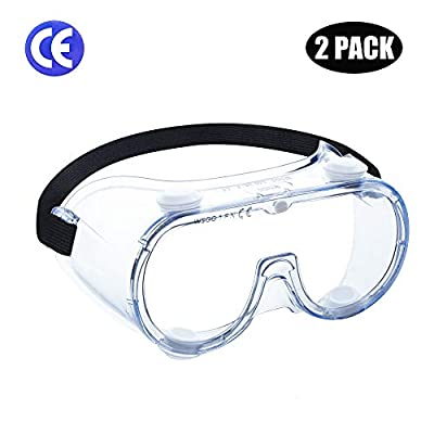 WSGG Safety Goggles Over the Glasses, Clear Wide-Vision Anti-Fog Eye Protection for Men and Women, Protective Eyewear for Lab, Workplaces, Chemical and Surgical Use(2 pack)