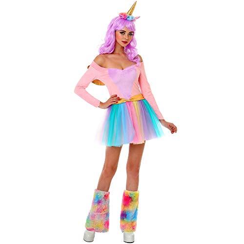 Boo Inc. Rainbow Unicorn Damen Halloween Kostüm Sexy Kleid, Stirnband, Beinstulpen - Mehrfarbig - Large