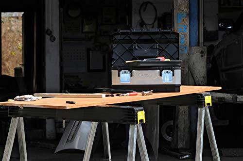 Stanley klappbares Unterstellbock Paar aus Metall 1-97-475 / Mit Kunststoffauflage & rutschfesten Gummifüßen / bis 340 kg Tragkraft / 101,7 x 12,5 x 75,8 cm - 4