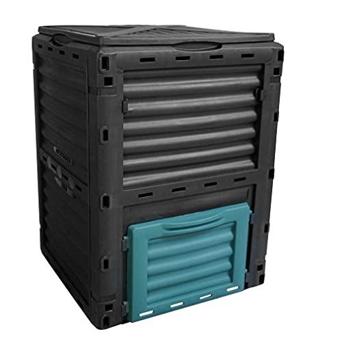 Geschlossener Schnellkomposter 300L aus Kunststoff: YERD Komposter TG4204007 witterungsbeständig aus 100% PP, biologischer Gartenkomposter/Thermokomposter