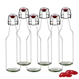 YEBODA Clear Glass Beer Bottles for Home Brewing with Easy Wire Swing Cap & Airtight Silicone Seal 16 oz- Case of 6