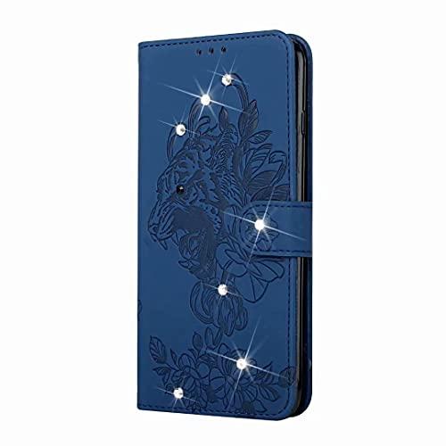 Funda para Samsung Galaxy A52 5G, piel sintética, tipo cartera, diseño de tigre en relieve con correa para la muñeca, hecha a mano, con diamantes brillantes, color azul