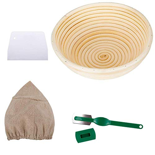 Bread Banneton Proofing Basket Set Baking Dough Bowl Handmade Best Bakery Themed Gifts for Women with Liner Covers Plastic Scraper, Handle Cutter