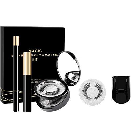 ZRSZ Magnetic Eyelashes Eyeliner Set Eyeliner Magnétique Avec Mascara Et Recourbe-cils Cils 3D Imperméables Et Durables Réutilisables (3 Paires)