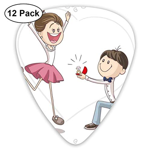 Gitarren-Auswahl - 12 Satz, Feier-Karikatur des Liebes-Valentinsgruß-Paares mit Ehering, für Bass-elektrische Akustikgitarre
