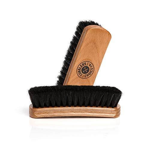 Shoe Brush - 100% Horsehair Shoe Brush - Concaved Handle for Premium Grip, Tan