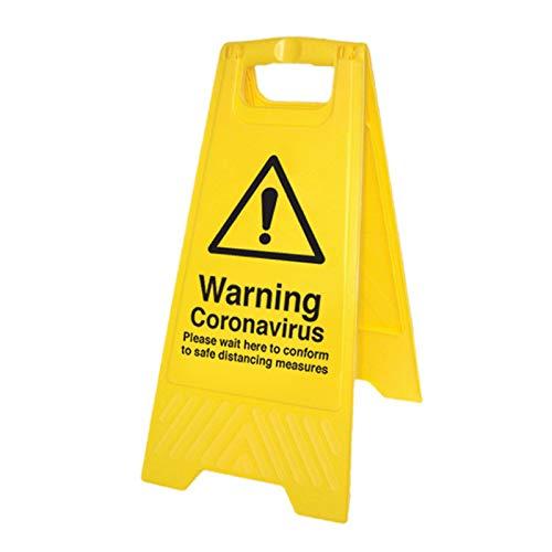 Avvertenza Coronavirus Si prega di attendere qui (cartello autoportante)